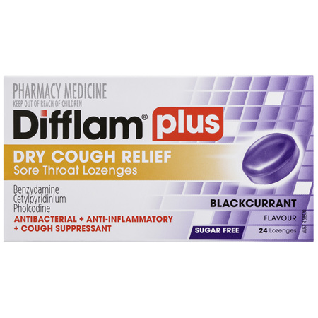 Difflam Plus Dry Cough Relief Sore Throat Lozenges Blackcurrant Flavour 24s