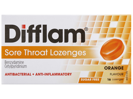 Difflam Sore Throat Lozenges Orange Flavour 16s