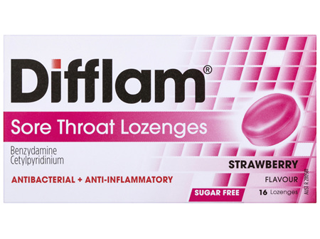 Difflam Sore Throat Lozenges Strawberry Flavour 16s