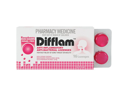 Difflam Sugar Free Lozenges Raspberry 16