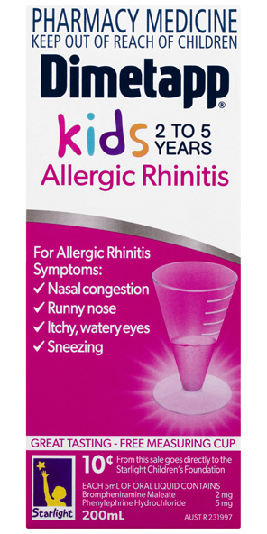 Dimetapp Allergic Rhinitis Kids 2 to 5 Years 200mL
