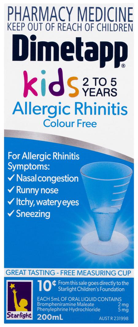 Dimetapp Allergic Rhinitis Kids 2 to 5 Years Colour Free 200mL