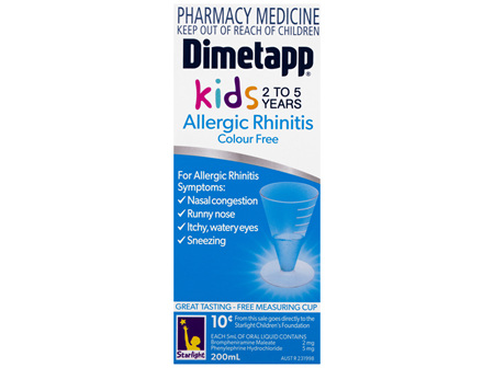 Dimetapp Allergic Rhinitis Kids 2 to 5 Years Colour Free 200mL
