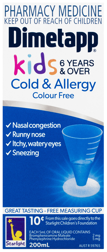 Dimetapp Cold & Allergy Colour Free Kids 6 Years & Over 200mL