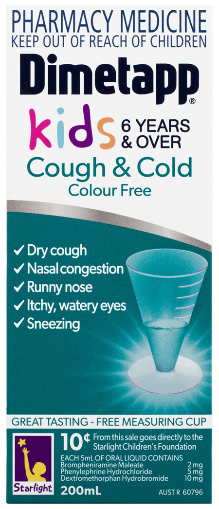 Dimetapp Cough & Cold Colour Free Kids 6 Years & Over 200mL
