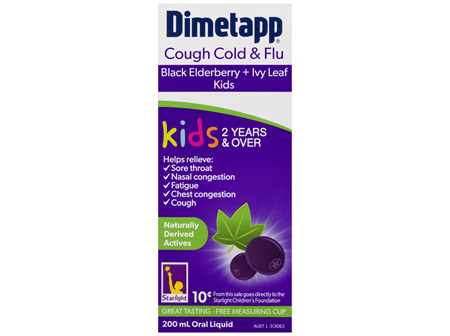 Dimetapp Cough Cold & Flu Black Elderberry + Ivy Leaf Kids 2 Years & Over 200mL