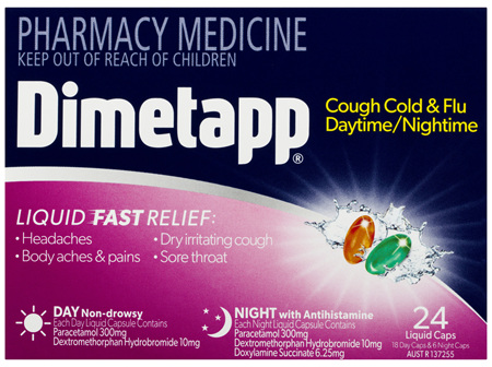 Dimetapp Cough Cold & Flu Daytime/Nightime Liquid Caps 24 Pack
