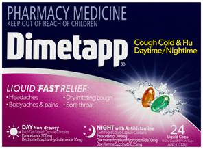 Dimetapp Cough Cold & Flu Daytime/Nightime Liquid Caps 24 Pack