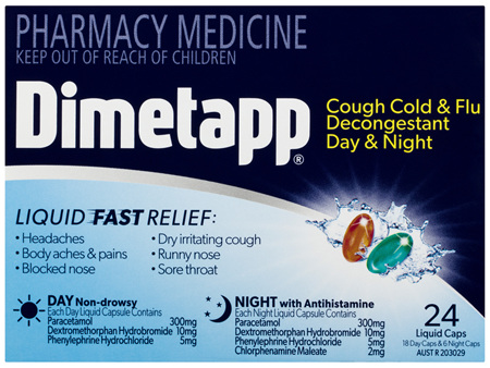 Dimetapp Cough Cold & Flu Decongestant Day & Night Liquid Caps 24 Pack