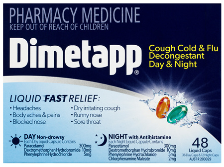 Dimetapp Cough Cold & Flu Decongestant Day & Night Liquid Caps 48 Pack