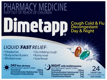 Dimetapp Cough Cold & Flu Decongestant Day & Night Liquid Caps 24 Pack