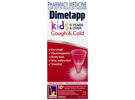 Dimetapp Cough & Cold Kids 6 Years & Over 200mL