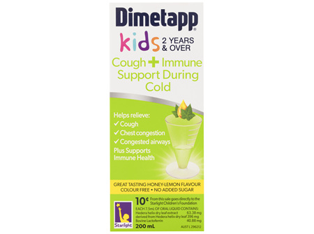 Dimetapp Kids 2 Years & Over Cough + Immune Support During Cold Honey-Lemon 200mL