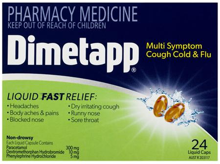 Dimetapp Multi Symptom Cough Cold & Flu Liquid Caps 24 Pack