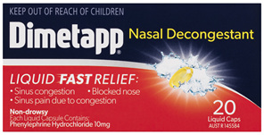 Dimetapp Nasal Decongestant Liquid Capsules 20 Pack