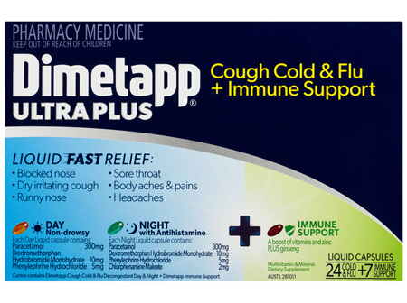 Dimetapp Ultra Plus Cough Cold & Flu + Immune Support 24 + 7 Pack