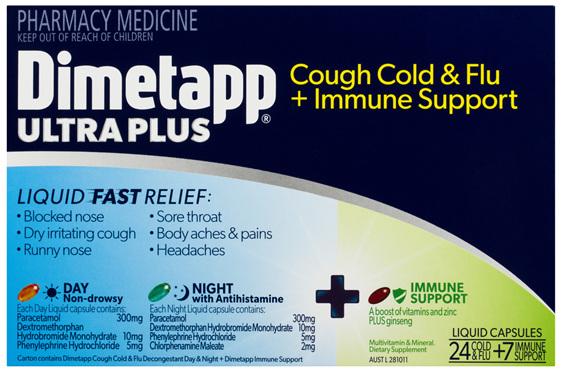 Dimetapp Ultra Plus Cough Cold & Flu + Immune Support 24 + 7 Pack