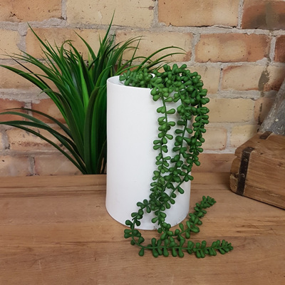 Dish Top Cylinder Vase White Ceramic