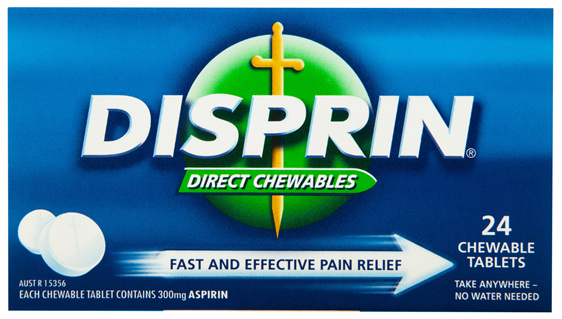 Disprin Direct Chewable Pain Relief Tablets 300mg Aspirin 24 pack