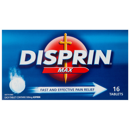 Disprin Max Pain Relief Dispersible Tablets 500mg Aspirin 16 pack
