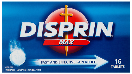 Disprin Max Pain Relief Dispersible Tablets 500mg Aspirin 16 pack