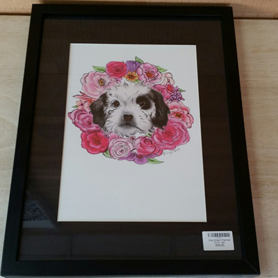 Dog Wreath Framed Print - A4