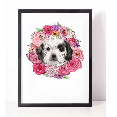 Dog Wreath Print - A4