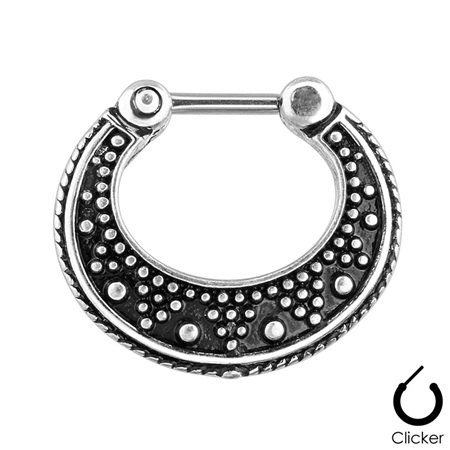Dotted Pattern Two Tone 316L Surgical Steel Septum Clicker