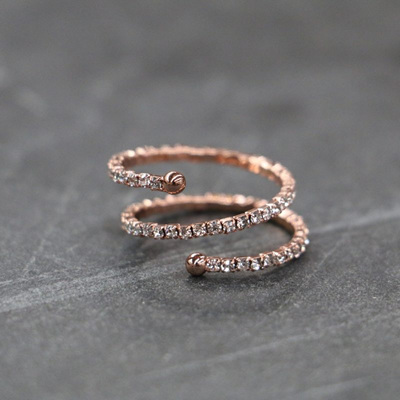 Double Crystal Ring - Rose Gold