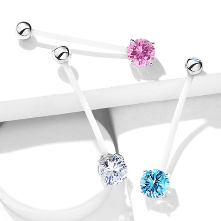 Double Jeweled Prong Set Pregnancy Belly Bar