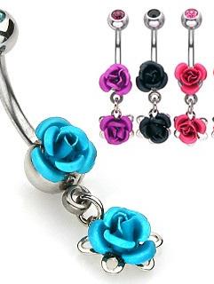 Double Metal Rose Navel Ring w/ Gem Ball