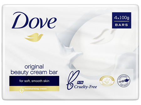 Dove Beauty Soap Bar Original washes away bacteria 4 pack 400g