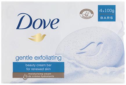 Dove Beauty Soap Bar Soft Peeling Exfoliating 4 pack 400g