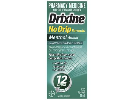 Drixine 12 Hour Relief No Drip Formula Menthol Aroma Pump Mist Nasal Spray 15ml