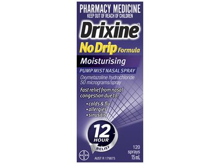 Drixine 12 Hour Relief No Drip Formula Moisturising Pump Mist Nasal Spray 15mL