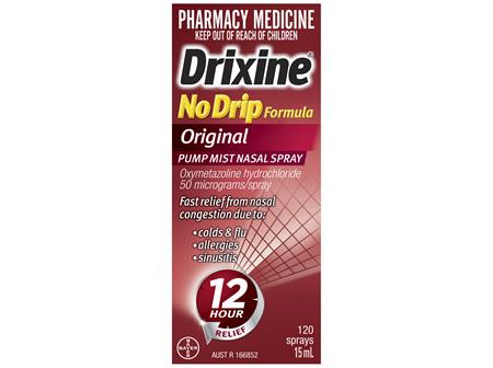 Drixine 12 Hour Relief No Drip Formula Original Pump Mist Nasal Spray 15ml