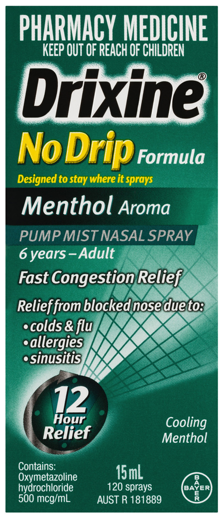 Drixine 12 Hour Relief No Drip Menthol Nasal Spray 120 sprays