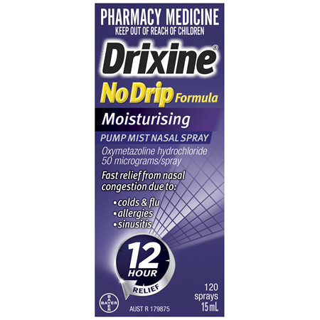 Drixine 12 Hour Relief No Drip Moisturising Nasal Spray 15mL