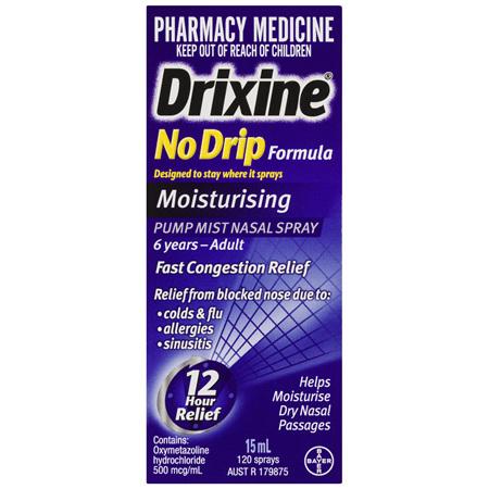 Drixine 12 Hour Relief No Drip Moisturising Nasal Spray 15mL