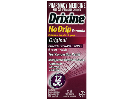 Drixine 12 Hour Relief No Drip Original Nasal Spray 15ml