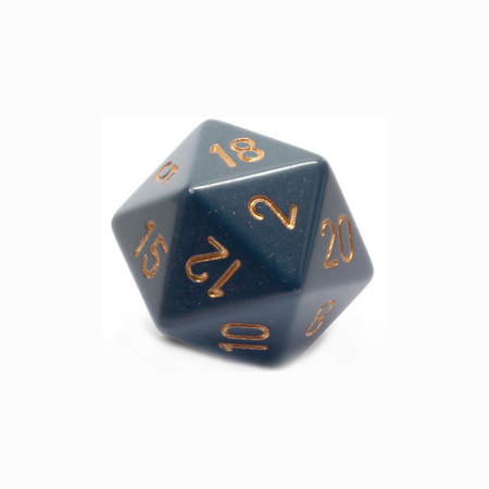 Dusty Blue with Gold Large Twenty Sided Dice