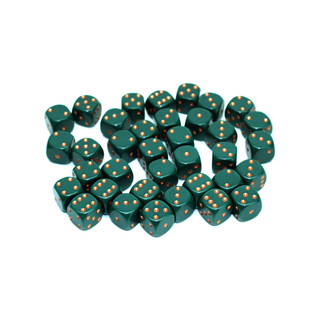 36 Dusty Green and Gold Six Sided Dice (12mm)