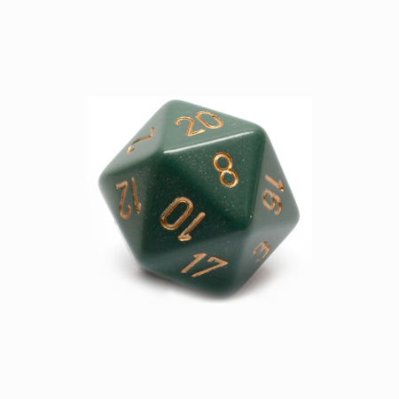 Dusty Green with Gold Large Twenty Sided Dice