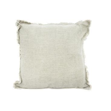 Eada Slub Cotton Cushion W Frayed Edge - Olive Green