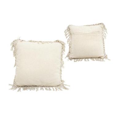 Eadie Cushion With Macrame Edge - Cream