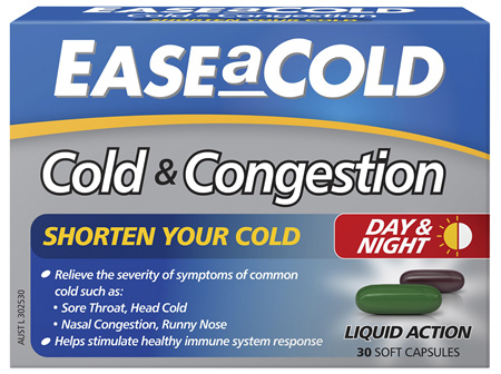 EASEaCOLD Cold & Congestion Day/Night 30 Soft Capsules