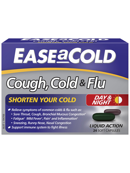 EASEaCOLD Cough, Cold & Flu Day/Night 24 Soft Capsules