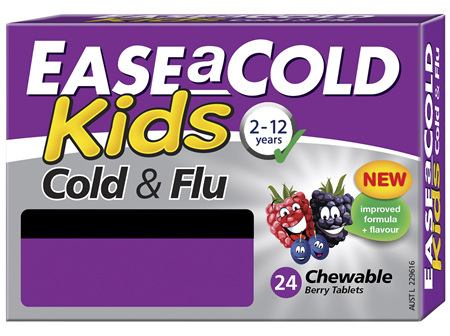 EASEaCOLD Kids Cold & Flu Chewable Berry Tablets 24 Chewable Tablets