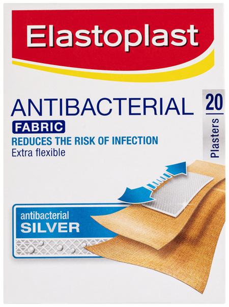 Elastoplast Antibacterial Fabric Silver Plasters 20 Pack