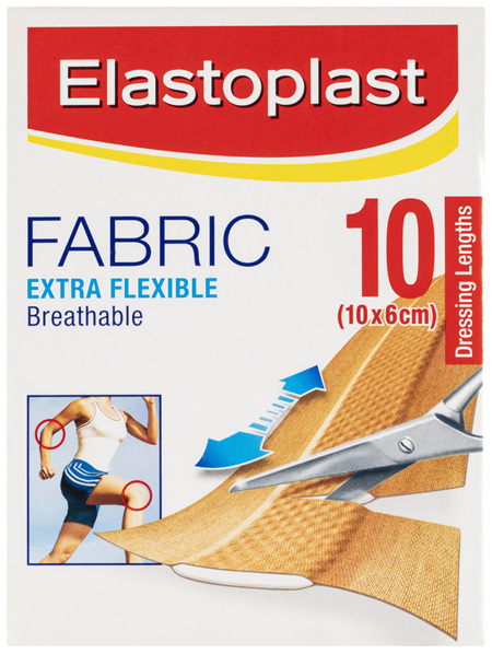 Elastoplast Fabric Extra Flexible 10 Dressing Lengths 10x6cm